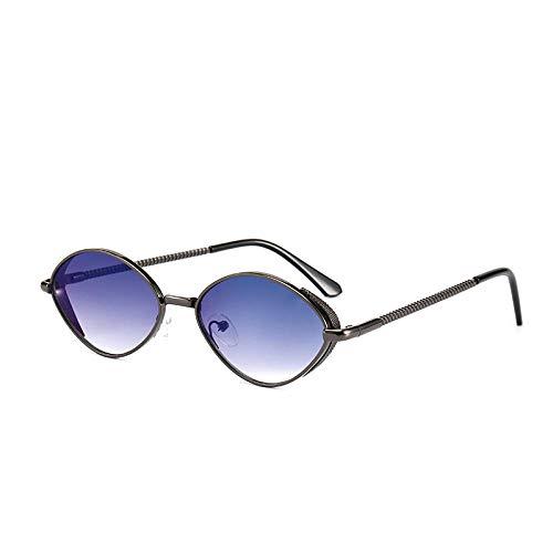Gafas de sol retro ovaladas de metal para mujer, gafas de sol europeas y americanas para hombre-Montura de pistola pieza azul y gris