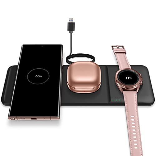 MYBOON Cargador inalámbrico Estación de Carga inalámbrica 3 en 1 para Auriculares de Reloj GAL-axy de teléfono móvil Sam-Sung Carga inalámbrica