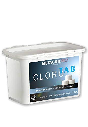 Metacril Cloro Tab - Cloro (tricloro) in tavolette da 20gr - conf. 1 kg - Ideale per Qualsiasi Tipo e Marca di Piscina o Idromassaggio (Teuco,Jacuzzi,Dimhora, Intex,Bestway, ECC.).