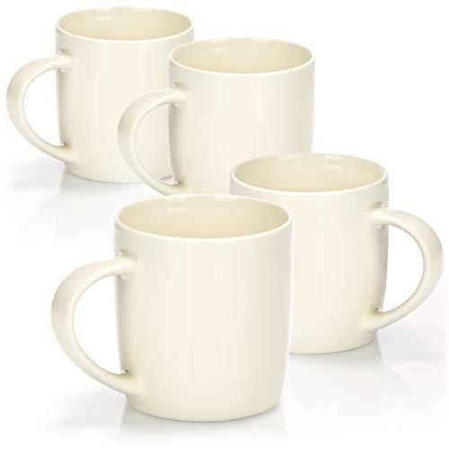 com-four® 4x Kaffeebecher aus Porzellan - Kaffee-Tasse im modernem Design - Kaffeepott für Kalt- und Heißgetränke - 330 ml
