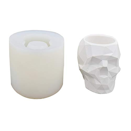 XTYaa - Molde de silicona duradero para maceta de flores de cráneo de cemento, para hacer suculentas