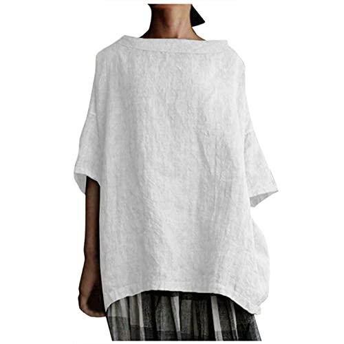 YANFANG Camiseta De Mujer,AlgodóN,Lino,Color Liso,Suelta,Ropa Mujer,Camisetas Estampadas para Mujer Blusa TúNica Tops Blusas,Blusa Pullover,Camisas Blusas Elegantes Casual Jersey,Blanco,L
