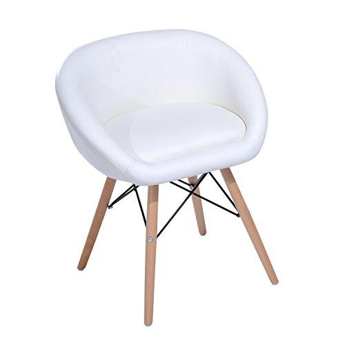 HOMCOM Chaise Design scandinave - Chaise de Salon ou Cuisine - Pieds effilés Bois Massif - revêtement synthétique PU Blanc