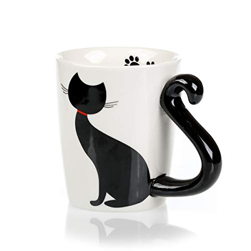 InFLOATables Cat Mug and Coaster Set - Little Black Cat Mug with Ceramic Coaster - 3D Novelty Coffee Mug with Tail Cat Handle - Cute Birthday Gift