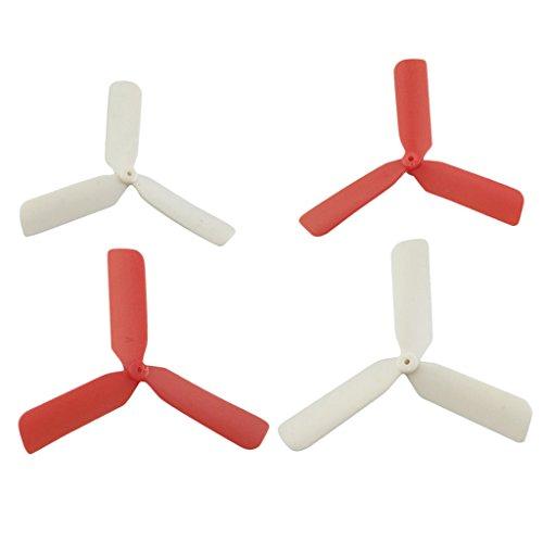 Sharplace Set Di 4 Pezzi Eliche Di 3 Foglie Cw Ccw Per RC Drone Elicotteri A Quattro assi Hubsan X4 H107 H107l H107c H107d 50 x 5 x 3mm - rosso bianco