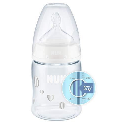 NUK First Choice+ Babyflasche | mit Temperature Control Anzeige | 150ml | 0-6 Monate | Anti-Colic | BPA Frei | neutral (Herzen)