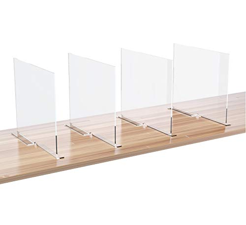 Meteou Acrylic Shelf Dividers Set of 4 Shelves Organizer Separator for Home Closet Wardrobe Cabinet Pantry Store Showroom Office Shelving Dividers 118x10 in Anti-Slip with Adhesive Tape
