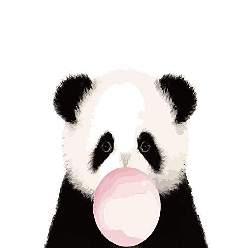 BUFUXINGMA Pintura por Números, DIY Pintar con Numeros para Adultos Y Niños, Pintura En Lienzo para Pared Decoración del Hogar,Panda Soplando Burbujas 16 * 20 Pulgadas
