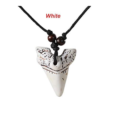 AdorabFruit Présent Pendentif Manera 1Pcs Enfriar joyería Collar de Dientes de tiburón Dientes Blancos y Regalos Colgante Suerte de Hombres Mujeres (Metal Color : White)