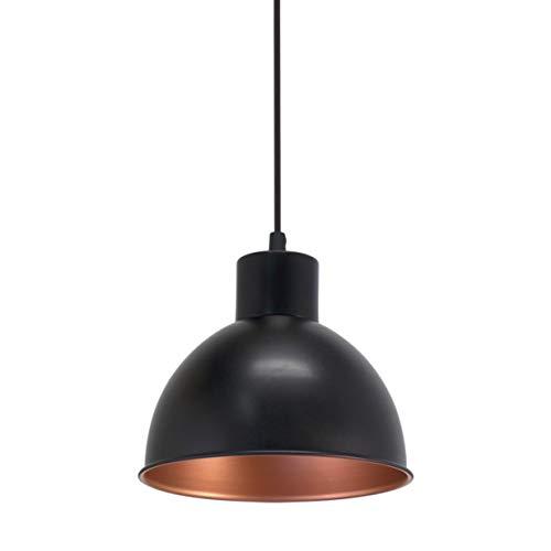 Eglo – Luminaire suspendu vintage – En acier – Au design industriel – Avec 1 lampe – De couleur noire et cuivre – Douille E27, Acier, Noir/cuivre., 21 x 21 x 110 cm, E27