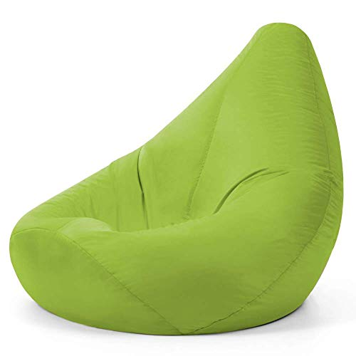 Bean Bag Bazaar Außensitzsack mit Hohem Rückenteil, Lindgrün, 87cm x 65cm, Gartensitzsack Wasserabweisend, Gaming Sitzsack