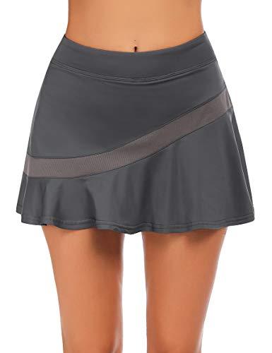 Ekouaer Falda de tenis para mujer, con bolsillos, pantalón interior, conexión para auriculares, ligera, tallas S-XXL gris oscuro L