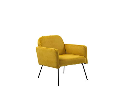 Beliani Sessel aus Samtstoff in Gelb Metallgestell in Schwarz Glamour Stil Narken
