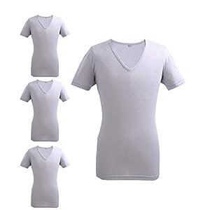 インナーTシャツ 半袖V首下着 吸汗速乾 抗菌 消臭 メッシュ 4枚セット アッシュグレ- L
