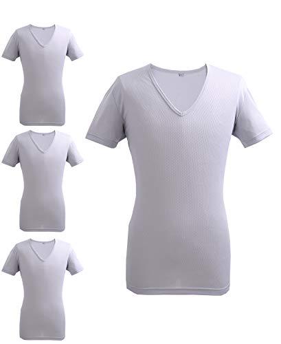 インナーTシャツ 半袖V首下着 吸汗速乾 抗菌 消臭 メッシュ 4枚セット アッシュグレ- M