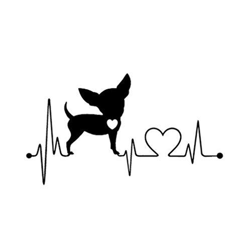 Vosarea Wasserdichte Herzschlag Lebensader Monitor Chihuahua Dog Aufkleber Vinyl Auto dekorative Aufkleber (weiß) (Schwarz)