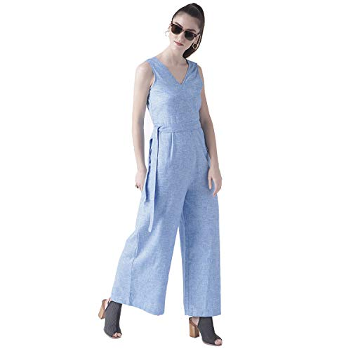 Fusion Beats Women's Poly Cotton Solid Jumpsuit (8907540183472; Blue; Small)