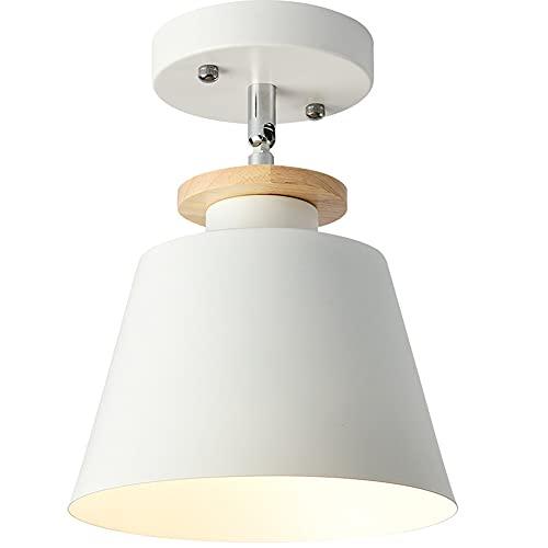 OURLOVEII Deckenleuchte Veranda Strahler Korridor zylindrische Spotleuchten Drehbar Schlafzimmer Deckenbeleuchtung Deckenstrahler Deckenlampe Modern E27 Holz Lampenschirm(20CM),Weiß