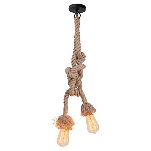 Weinlese-starkes Hanf-Seil-doppelte Kopf-hängende Hanf-Lampen-Seil-hängende Lichter E27 für Schlafzimmer-Gaststätte-Café-Stab-Land-Art-Dekoration (400CM)
