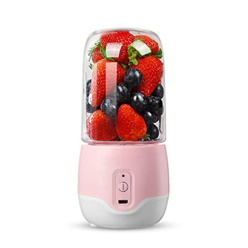 N / B Licuadora portátil, Cuatro Cuchillas de Acero Inoxidable, Recargable por USB, Cuerpo de Taza Transparente de 300 ml, operación con un botón, para Frutas, Batidos, Alimentos para bebés