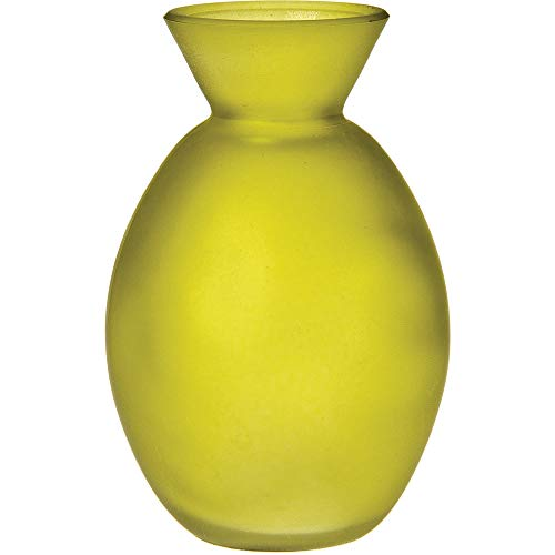Luna Bazaar Frosted Glass Vase (4-Inch, Oval Design, Chartreuse Green) - Decorative Flower Bud Vase - For Home Decor and Wedding Centerpieces