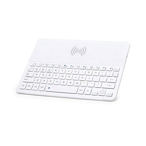 eBuyGB draadloos Bluetooth toetsenbord Qi mobiele telefoon oplader tablet houder voor Android Apple iOS - mobiele telefoon houder en USB-kabel meegeleverd