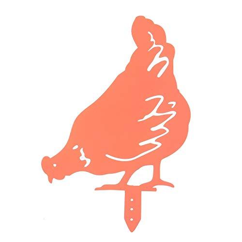 Deko Huhn und Hahn im Set   Rost Tierfiguren für Haus und Garten   Set Roststecker Rost Metall wetterfest   Huhn Silhouette Hof Zeichen Land Für Rasen Weg Bürgersteig Lustig Garten Dekoration (A)