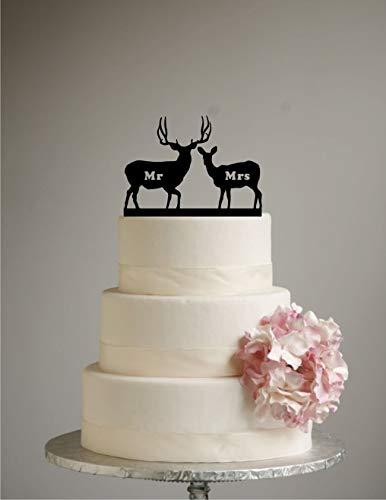 Susie85Electra Deer Wedding Cake Topper Mr Mrs Mule Deer Country Wedding Rustic Shabby Chic Redneck Cowboy Outdoor Western Acrylic