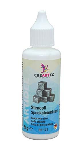 Honsell 79223 Steacoll Specksteinkleber, 50 ml, Spezialkleber für Speckstein, trocknet transparent, Klebestelle unsichtbar, bunt