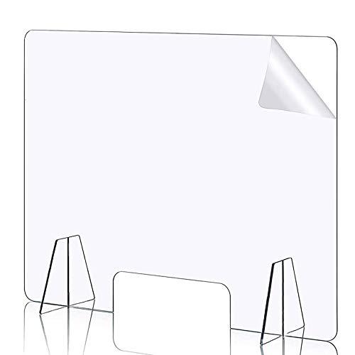 ALDSD Spuckschutz Plexiglas,Plexiglasscheibe 90 X 80 cm,plexiglas Schutzwand Mit Durchreiche, Glasklar,für Geschäfte, Apotheken, Büro