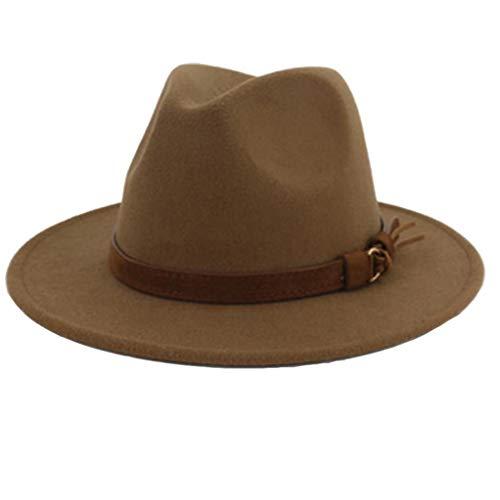 Sombrero de ala Ancha Cap Jazz Iglesia Panamá Caballero Señora Elegante Sombrero de Fedora con la Cinta de Cuero