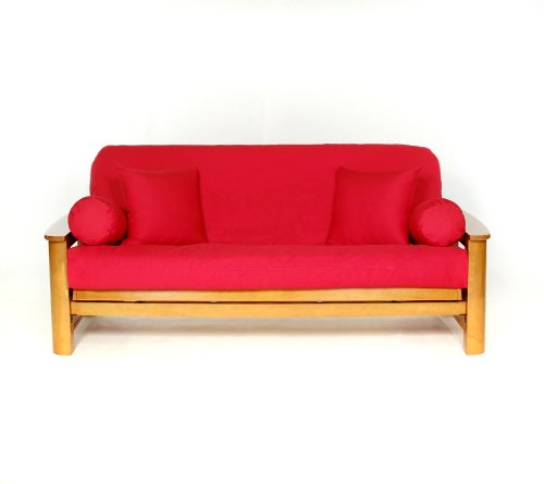 Lifestyle Covers 100% Cotton Red Full Size Futon Cover