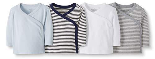 Moon and Back de Hanna Andersson - Pack de 4 camisetas de manga larga con cierre lateral hechas de algodón orgánico para bebé, Marino, 0 messes (45 CM)