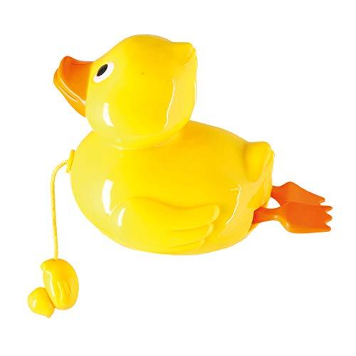 Bieco Aufziehspielzeug Ente zum Baden   Badespielzeug Baby ab 1 Jahr   Wasserspielzeug Baby Ente   Süßes Enten Badewannen Spielzeug zum Aufziehen   Gelbe Ente als Planschbecken Spielzeug   Badetiere
