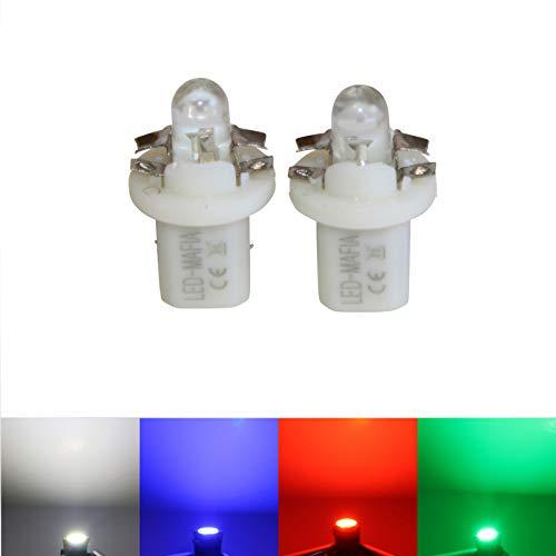 LED-Mafia® Lot de 2 ampoules halogènes rondes B85d pour compteur de vitesse Blanc/bleu/rouge