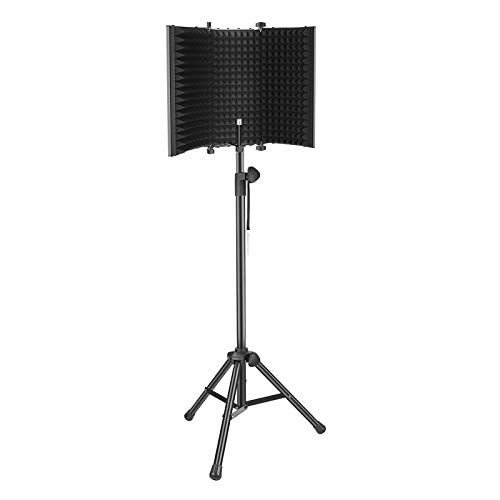 Neewer Pro Microphone Isolation Shield with Tripod Stand, 3-Panel High-Density Foam Pop Filter with 65.2 inches Stand for Sound Recording, Podcasts, Broadcasting (Mic/Shock Mount Not Included)