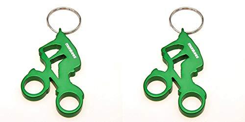 munkees 2 x Schlüsselanhänger Fahrrad Fahrer Flaschenöffner Alu, Sport-Geschenk, Doppelpack Grün, 352759