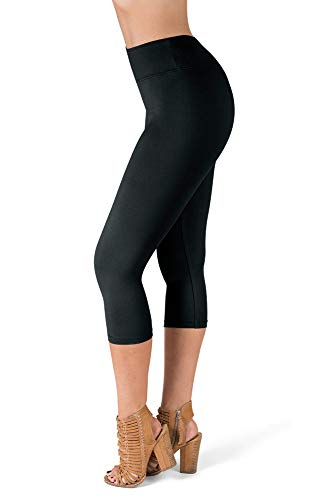 SATINA High Waisted Super Soft Capri Leggings - 20 Colors - Reg & Plus Size (One Size, Black)