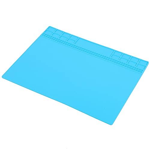 Tapete de reparación de silicona, tapete de estación de soldadura fácil de usar para fábrica para uso general para componentes electrónicos para uso profesional(Light blue)