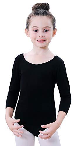 Soudittur Maillot de Ballet Danza Clásico para Niña Manga 3/4 Body Leotardo Gimnasia Ritmica (Negro, Tag 150(Height: 145-150 cm))