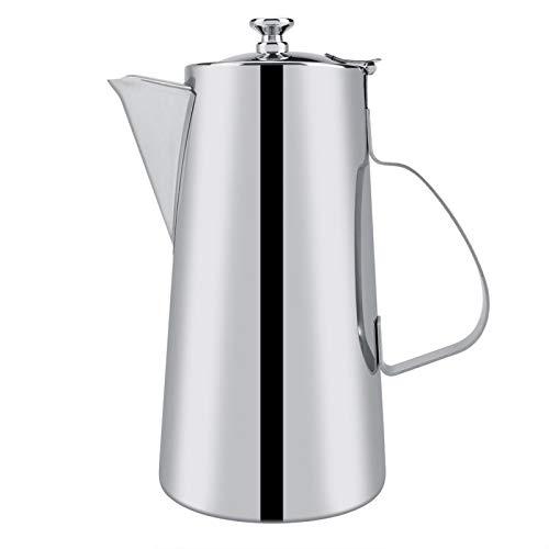 Emoshayoga Tetera de Acero Inoxidable Espesado de 2L, Tetera de café, hervidor de Agua con Mango de diseño ergonómico para Uso en el Restaurante en casa(Boquilla Corta 2L)