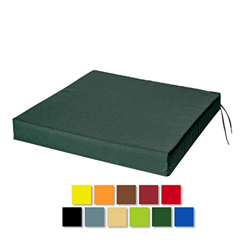 STYLE4HOME Waterproof Chair Cushions With Ties Seat Pads Cushion Pad Indoors Outdoors Water Resistant Material Kitchen Dining Living Room Patio Garden Office Coffee Shop Foam Dark Green