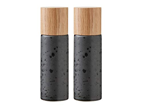 BITZ Salz- und Pfeffermühle, 2 Gewürzmühlen aus Steingut (Salzmühle + Pfeffermühle), 2er-Set, 16,7 cm hoch, schwarz