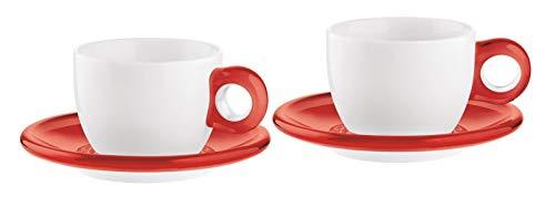 Guzzini Fratelli Gocce, 2 Cappuccinotassen mit Untertassen, SMMA|Porcelain