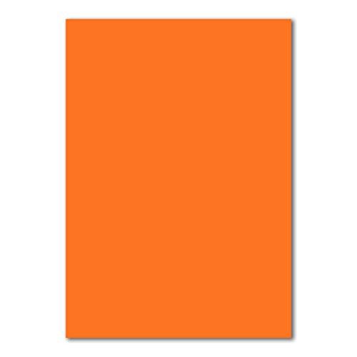 50 DIN A4 Papierbogen Planobogen -Orange - 160 g/m² - 21 x 29,7 cm - Bastelbogen Ton-Papier Fotokarton Bastel-Papier Ton-Karton - FarbenFroh®