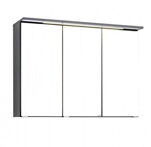 Held Möbel 012.1.0042 3D Spiegelschrank 90, Holzwerkstoff, graphitgrau, 20 x 90 x 66 cm