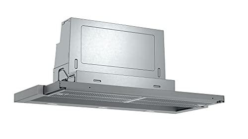 Bosch DFR097A52 Serie 4 Flachschirmhaube, A, 90 cm, Silbermetallic, wahlweise Umluft- oder Abluftbetrieb, Kurzhubtasten, 1 Intensivstufe, Metallfettfilter (spülmaschinengeeignet)