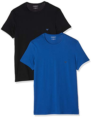 Emporio Armani Underwear 2-Pack T-Shirt, Blu (Nero/Blu Reale 70220), Medium Uomo
