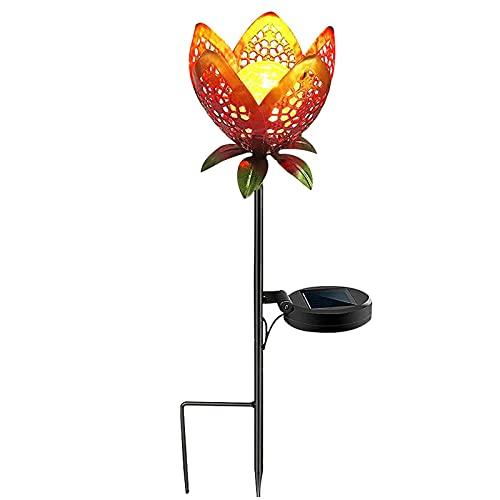 QULONG 2 Luces solares de Flores de Metal, Luces Decorativas solares para jardín, lámpara de Arte de estaca de jardín, Luces Decorativas Impermeables para Exteriores, Pasarela, Camino, Patio, céspe