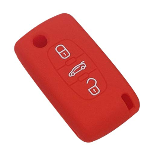Happyit Silicona Caja de la Llave del Coche Cubrir para Peugeot 107 207 307 407 308 607 Citroen C1 C2 C3 C4 C5 C6 C8 3 Botóns (Rojo)